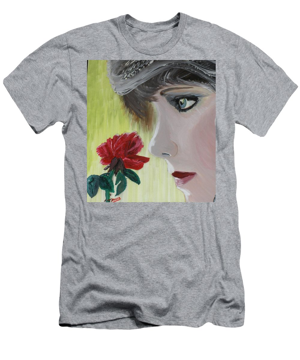 Romance T-Shirt featuring the painting Wedding Rose by J Bauer