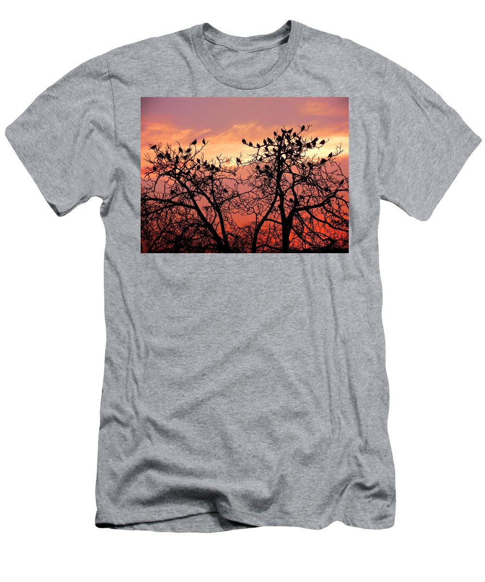 Landscape Men's T-Shirt (Athletic Fit) featuring the photograph Wente Road Sunset by Karen W Meyer