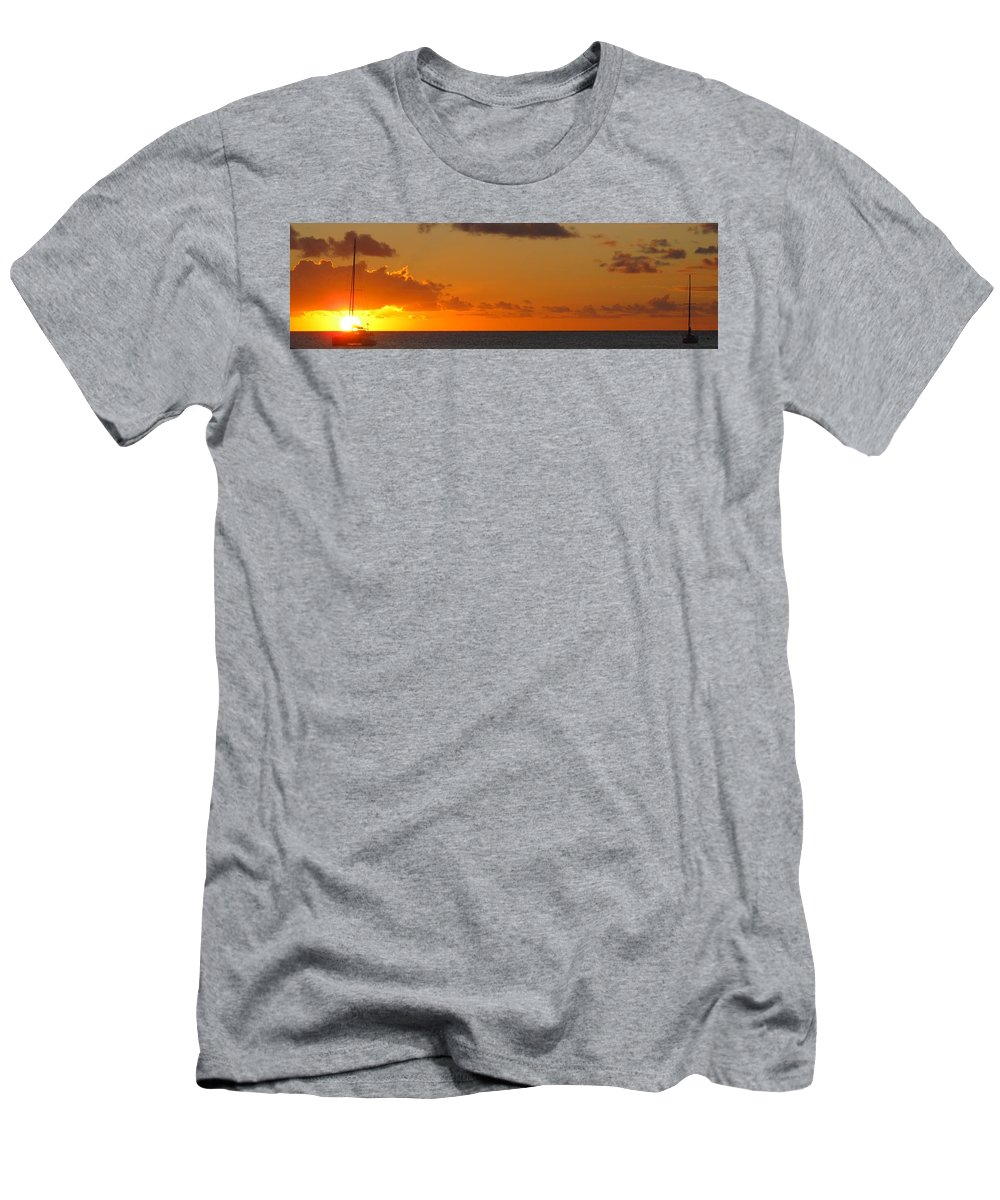 Sun Men's T-Shirt (Athletic Fit) featuring the photograph West From Frigate Bay by Ian MacDonald