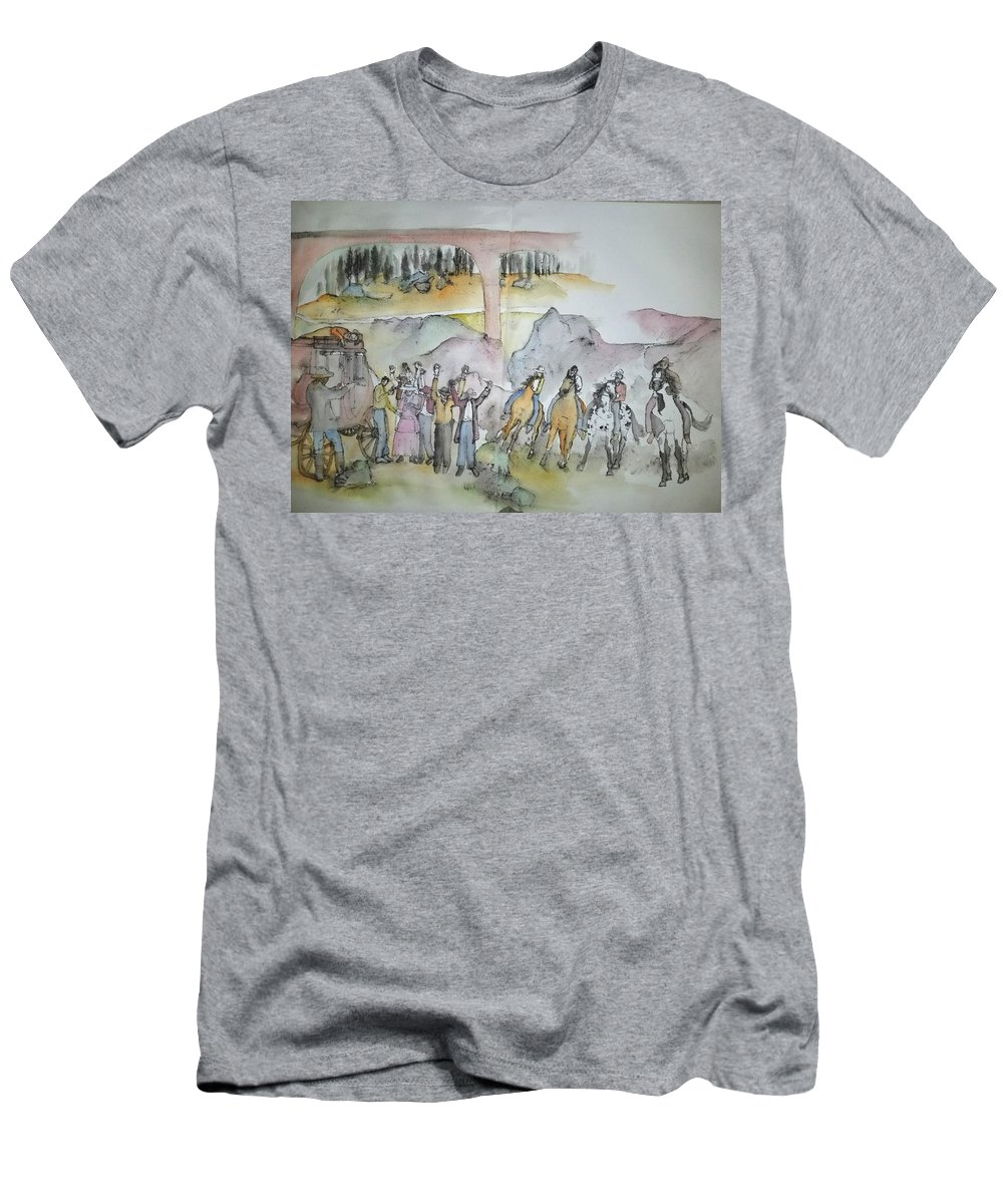Western Art. Robbery. Stagecoach Men's T-Shirt (Athletic Fit) featuring the painting Western Art My Way.album by Debbi Saccomanno Chan