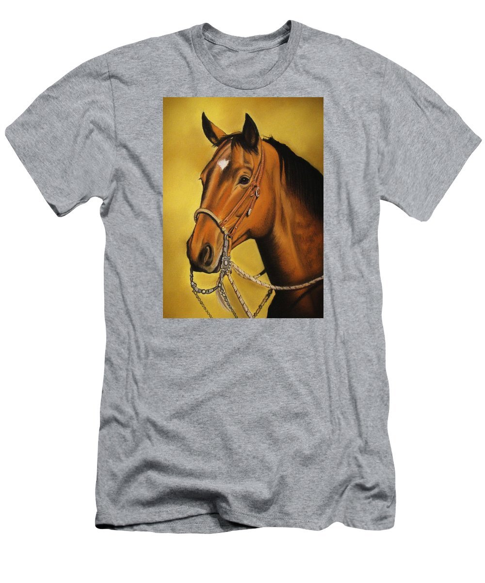 Horse Men's T-Shirt (Athletic Fit) featuring the pastel Western Horse by Lucy Deane