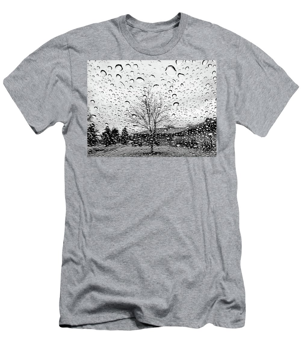 Raindrops On Car Window Men's T-Shirt (Athletic Fit) featuring the photograph Wet Car Window B by John Myers