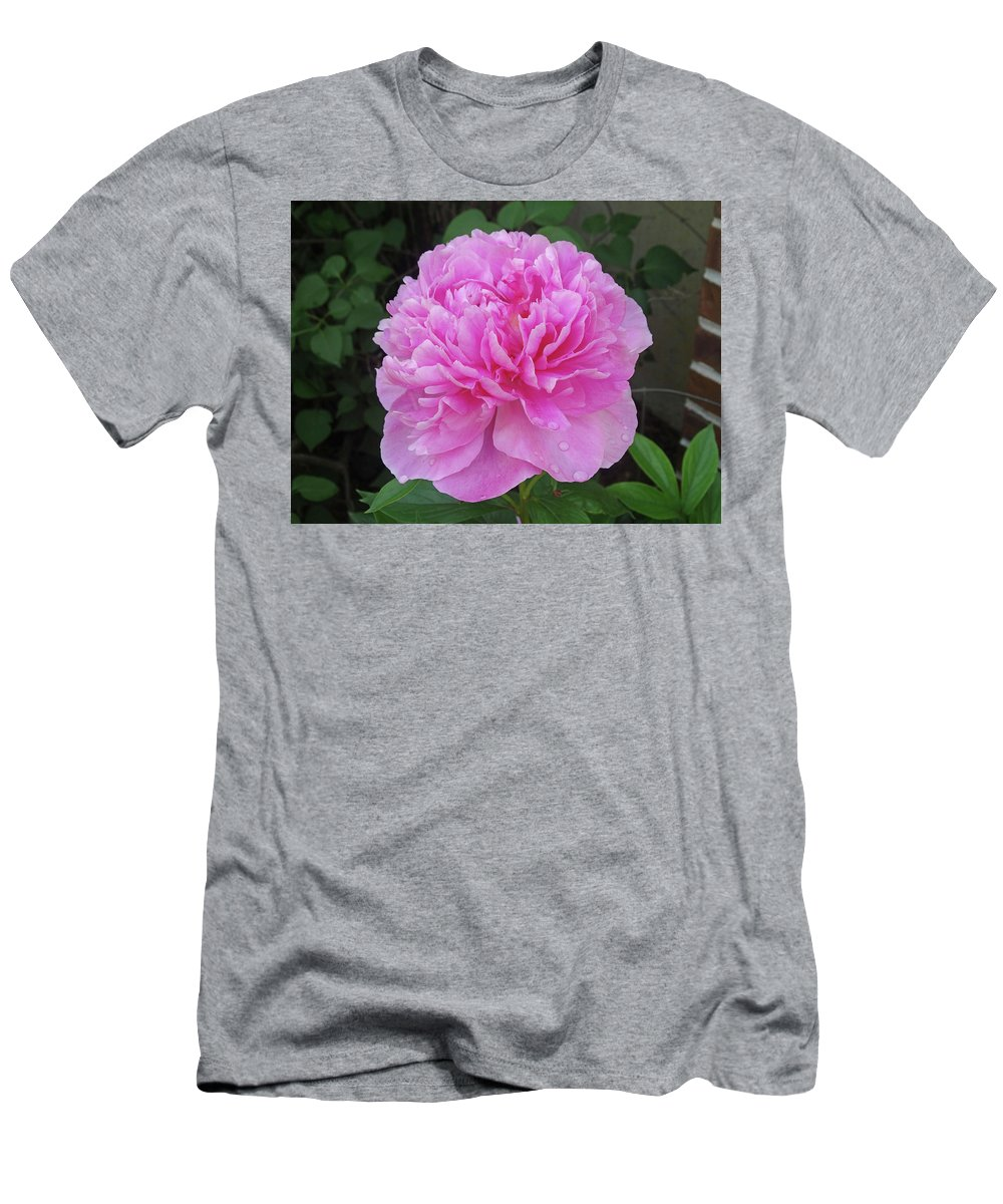 Flower Men's T-Shirt (Athletic Fit) featuring the photograph Wet Peony by Greg Boutz