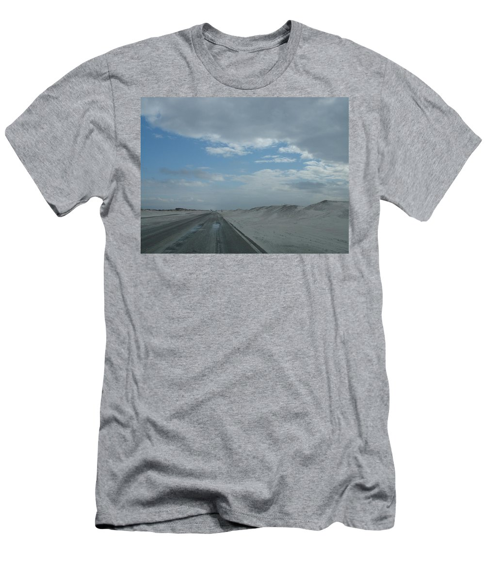 Sand Men's T-Shirt (Athletic Fit) featuring the photograph Wet Sand On Pensacola Beach Road by Christiane Schulze Art And Photography