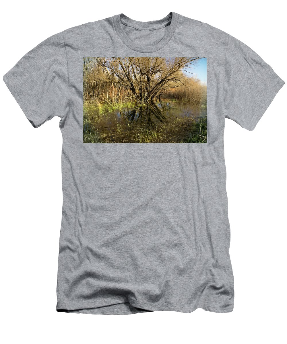 2016 Men's T-Shirt (Athletic Fit) featuring the photograph Wetlands Mirror Reflection by Cary Leppert