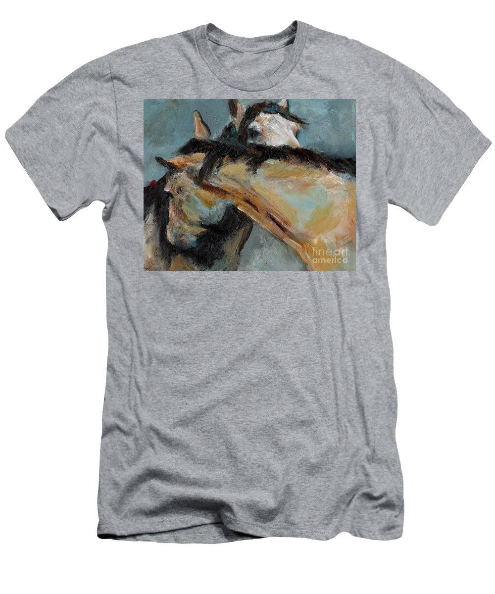 Horses Men's T-Shirt (Athletic Fit) featuring the painting What We Could All Use A Little Of by Frances Marino