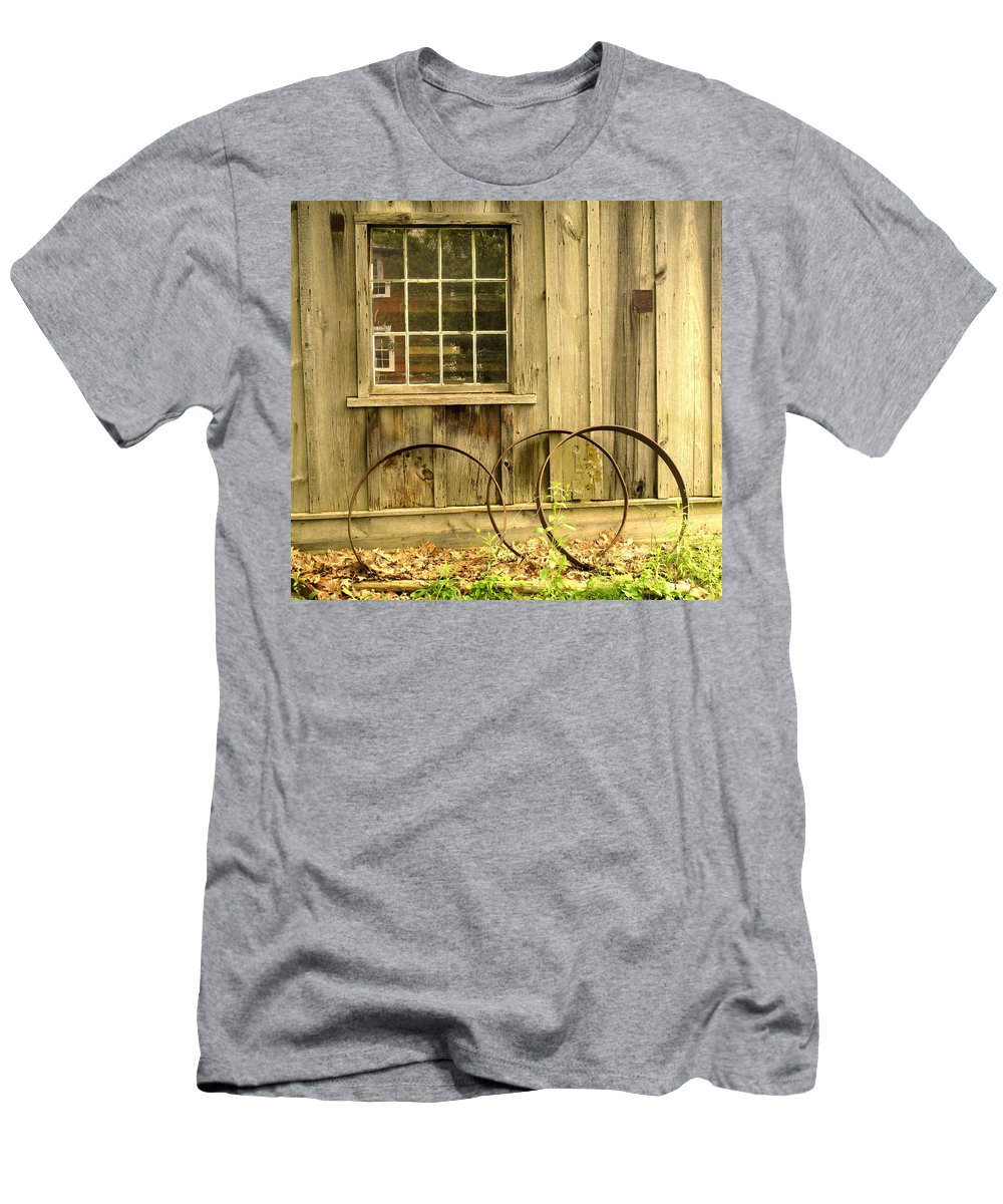 Wheel Rims Men's T-Shirt (Athletic Fit) featuring the photograph Wheel Rims by Ian MacDonald