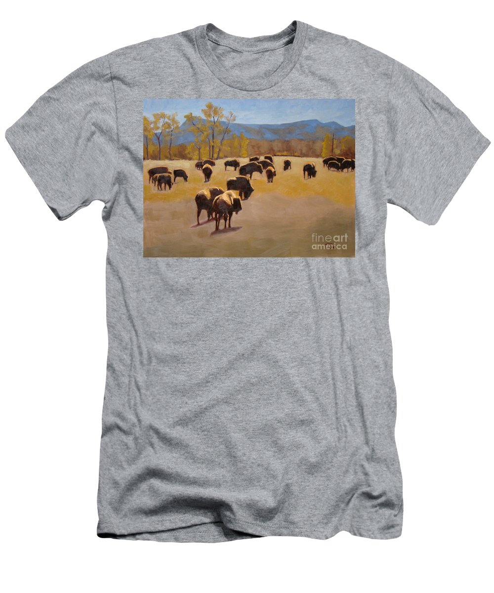 Buffalo Men's T-Shirt (Athletic Fit) featuring the painting Where The Buffalo Roam by Tate Hamilton