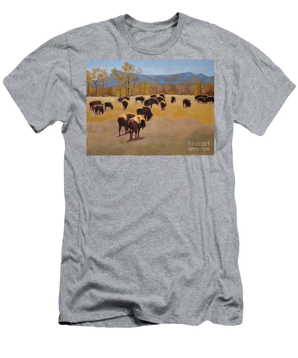 Buffalo T-Shirt featuring the painting Where the buffalo roam by Tate Hamilton