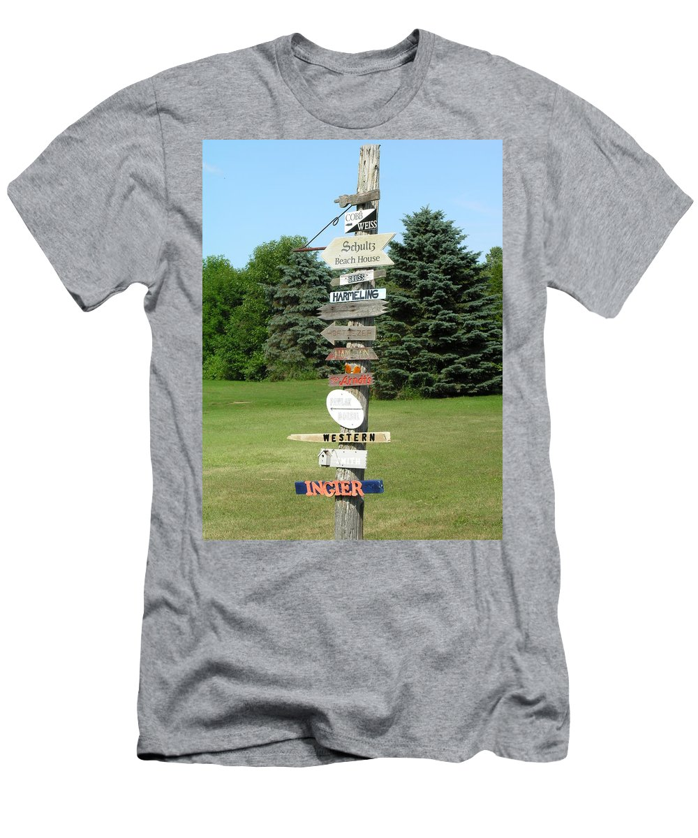 Direction Men's T-Shirt (Athletic Fit) featuring the photograph Which Way Do I Go by Diane Greco-Lesser