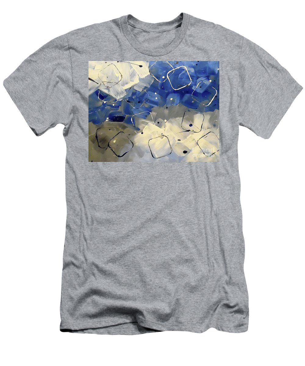Blue Cubism Men's T-Shirt (Athletic Fit) featuring the painting Whirlwind by Jilian Cramb - AMothersFineArt