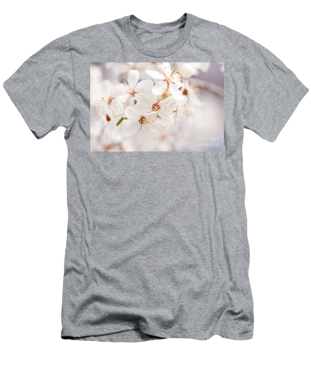 Cherry Tree Men's T-Shirt (Athletic Fit) featuring the photograph White Blossoming Cherry Tree Macro by Arletta Cwalina