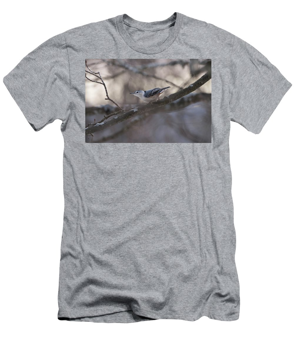Bird Men's T-Shirt (Athletic Fit) featuring the photograph White Breasted Nuthatch by Sherman Perry