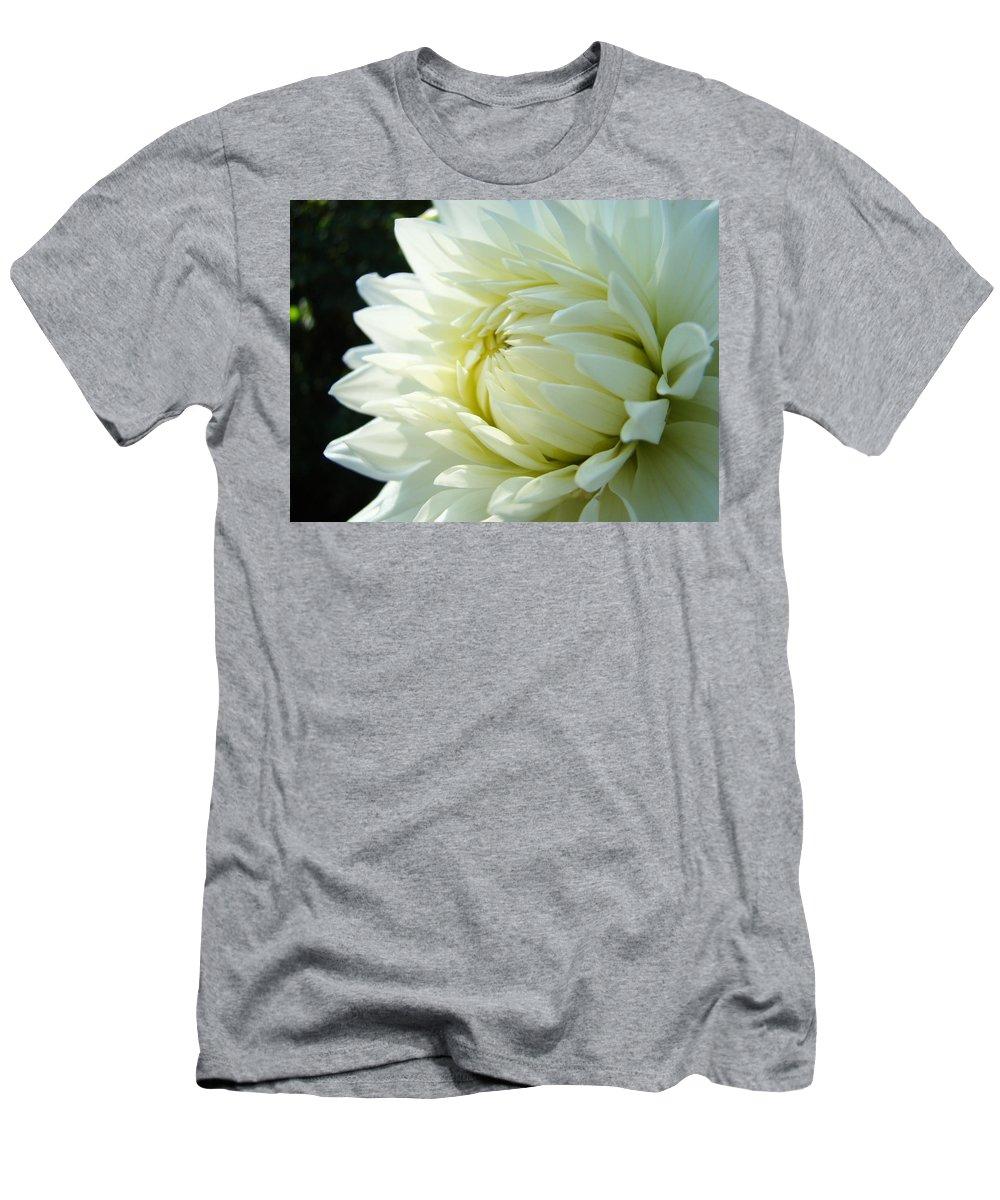 Dahlia Men's T-Shirt (Athletic Fit) featuring the photograph White Dahlia Flower Art Print Canvas Floral Dahlias Baslee Troutman by Baslee Troutman