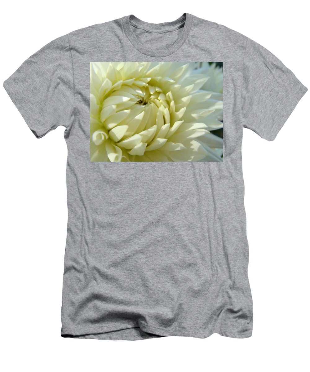 Dahlia Men's T-Shirt (Athletic Fit) featuring the photograph White Dahlia Flower Art Prints Dahlia Giclee Baslee Troutman by Baslee Troutman