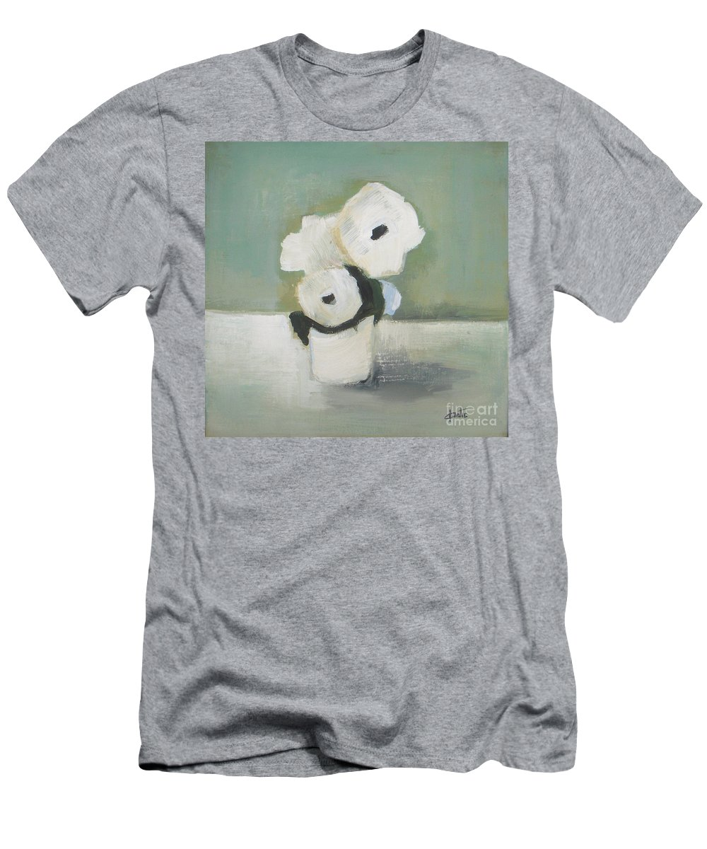 White Flowers Men's T-Shirt (Athletic Fit) featuring the painting White Flowers In Vase by Vesna Antic