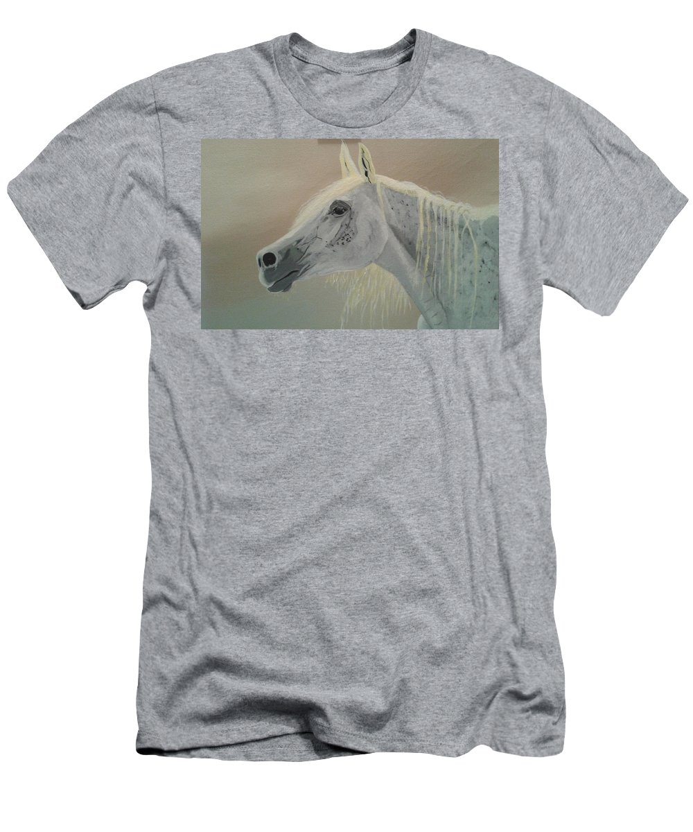 White Horse Men's T-Shirt (Athletic Fit) featuring the painting White Horse by Dolores Brittain