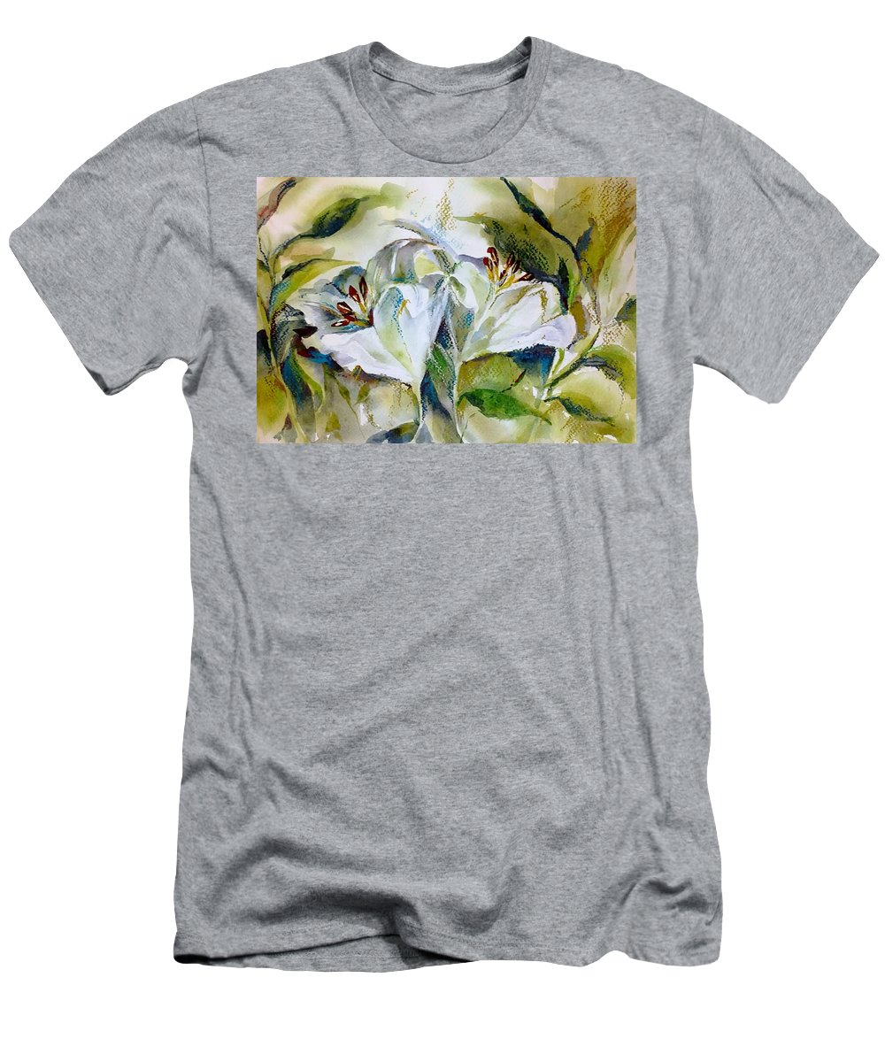 Pastel Men's T-Shirt (Athletic Fit) featuring the painting White Lilies by Jane Bogdanchyk