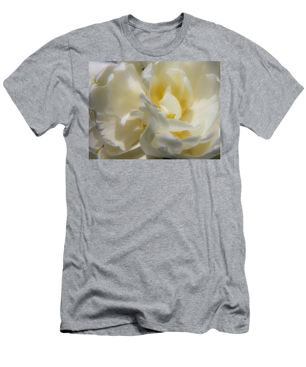 White Men's T-Shirt (Athletic Fit) featuring the photograph White Peony Tulip Detail by Teresa Mucha