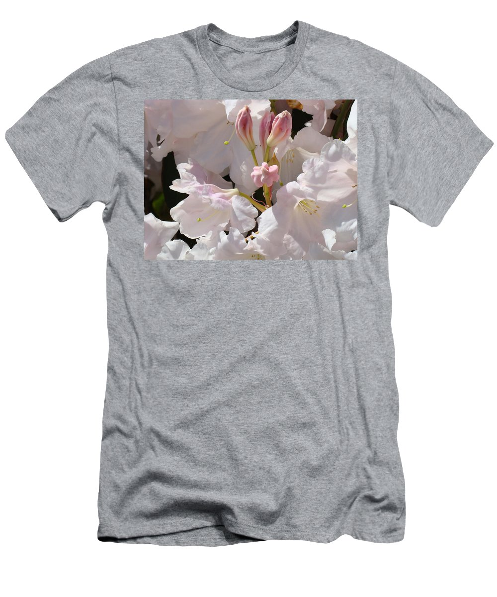 Rhodie Men's T-Shirt (Athletic Fit) featuring the photograph White Rhodies Pink Rhododendrons Flowers Art Prints Canvas Botanical Baslee Troutman by Baslee Troutman
