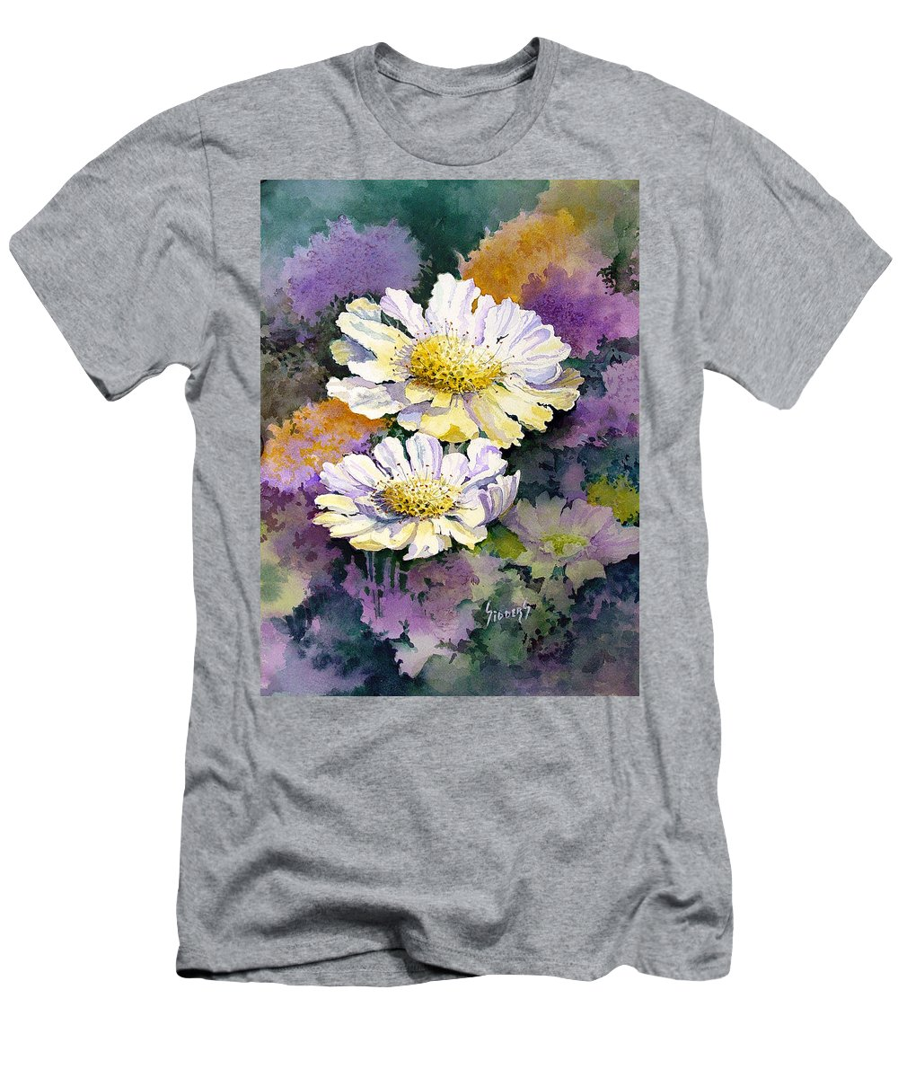 Flower T-Shirt featuring the painting White Scabious by Sam Sidders