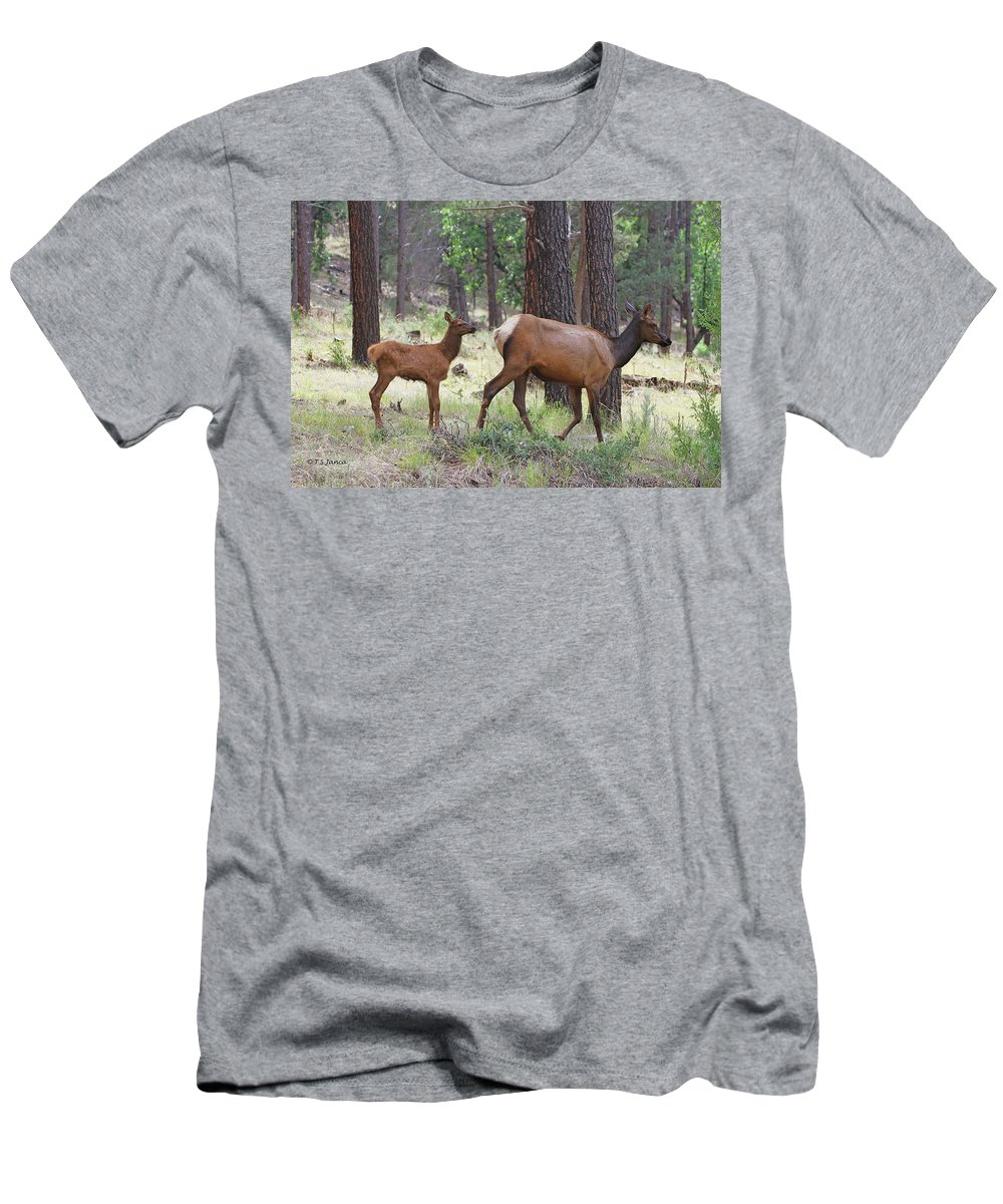 Wild Happy Mom Elk Men's T-Shirt (Athletic Fit) featuring the digital art Wild Elk Baby And Mom by Tom Janca