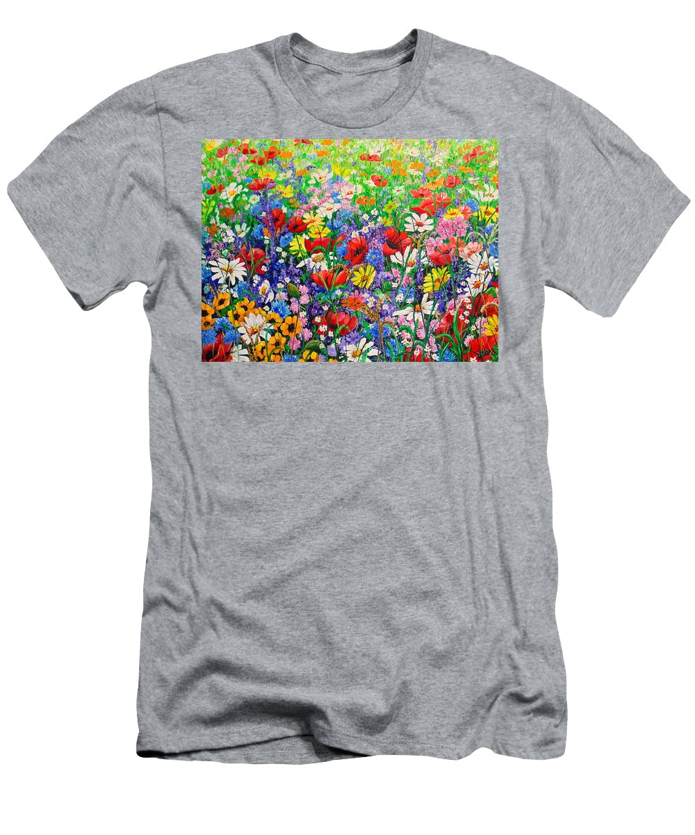 Wild Flowers T-Shirt featuring the painting Wild Flower Meadow by Karin Dawn Kelshall- Best