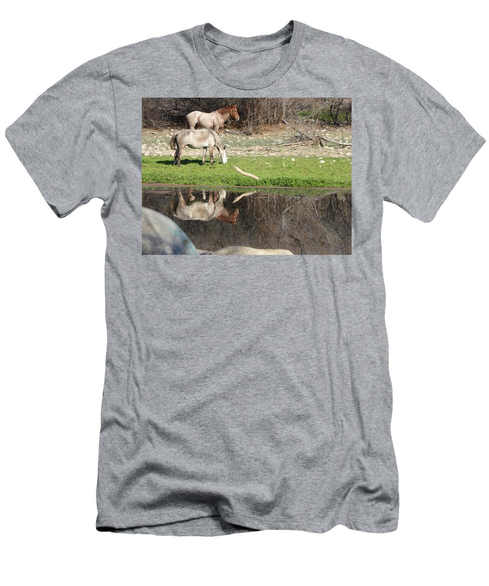 Horses Men's T-Shirt (Athletic Fit) featuring the photograph Wild Horses by Diane Barone