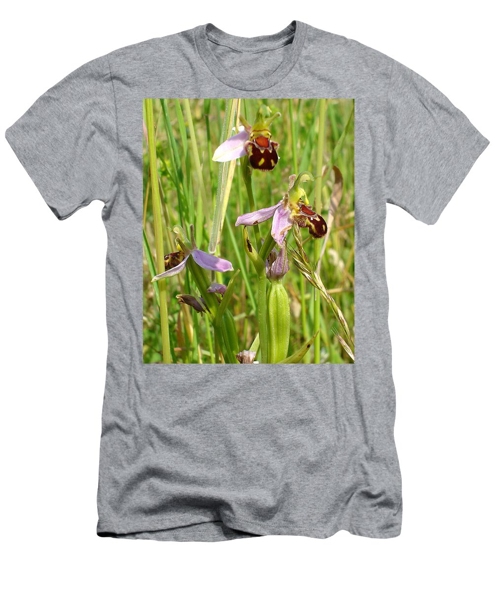 Flora Men's T-Shirt (Athletic Fit) featuring the photograph Wild Meadow Bee Orchids by Susan Baker