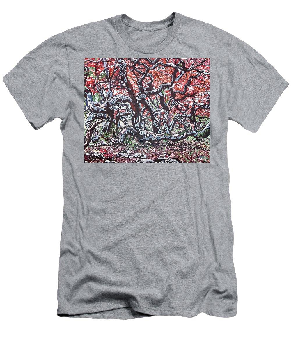 Valentine Magutsa Men's T-Shirt (Athletic Fit) featuring the painting Wild Msasa by Valentine Magutsa