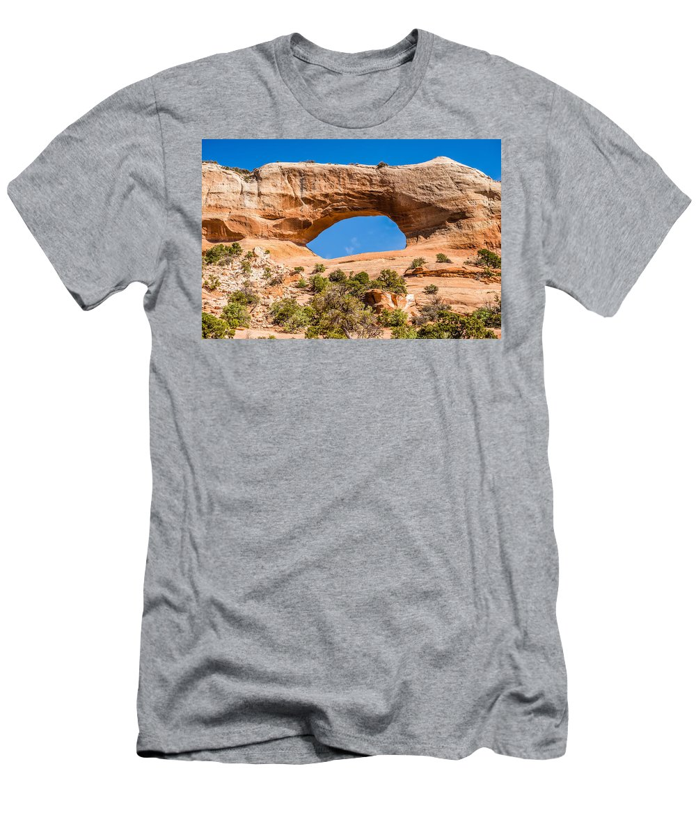Arch Men's T-Shirt (Athletic Fit) featuring the photograph Wildon Arch In Utah by Alex Grichenko