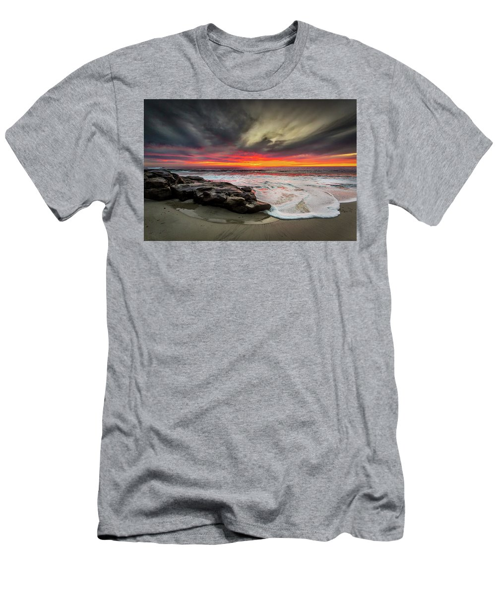 Beach Men's T-Shirt (Athletic Fit) featuring the photograph Will Of The Wind by Peter Tellone