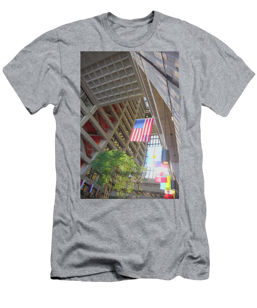 Wilson Hall Men's T-Shirt (Athletic Fit) featuring the photograph Wilson Hall At Fermilab - Interior by Timothy Ruf