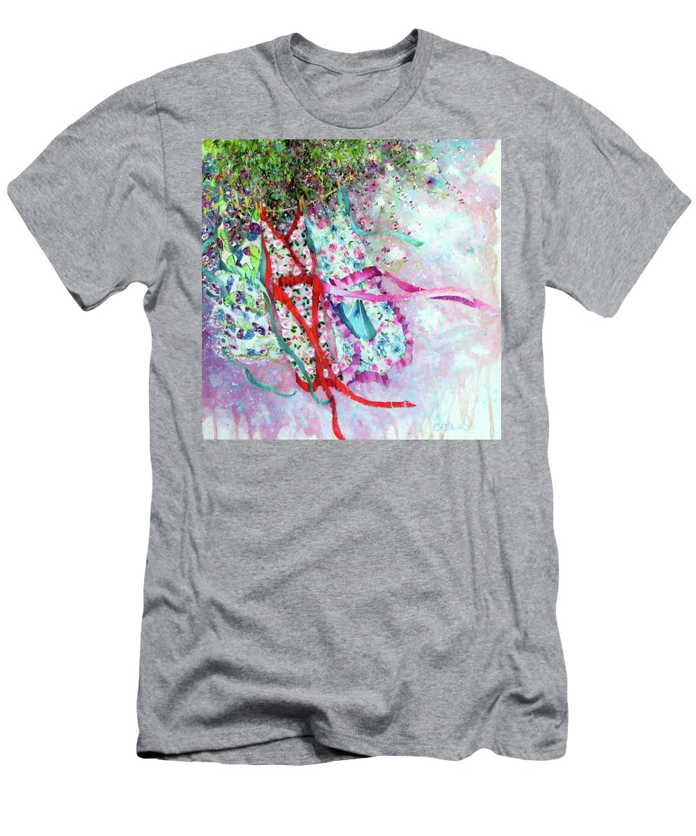 Clothesline Men's T-Shirt (Athletic Fit) featuring the painting Wind Of Summer by Nicole Gelinas