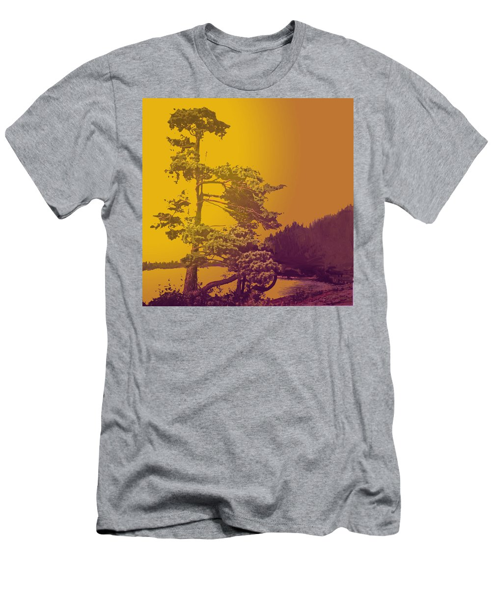 Pine Men's T-Shirt (Athletic Fit) featuring the photograph Windblown At Twilight by Ian MacDonald