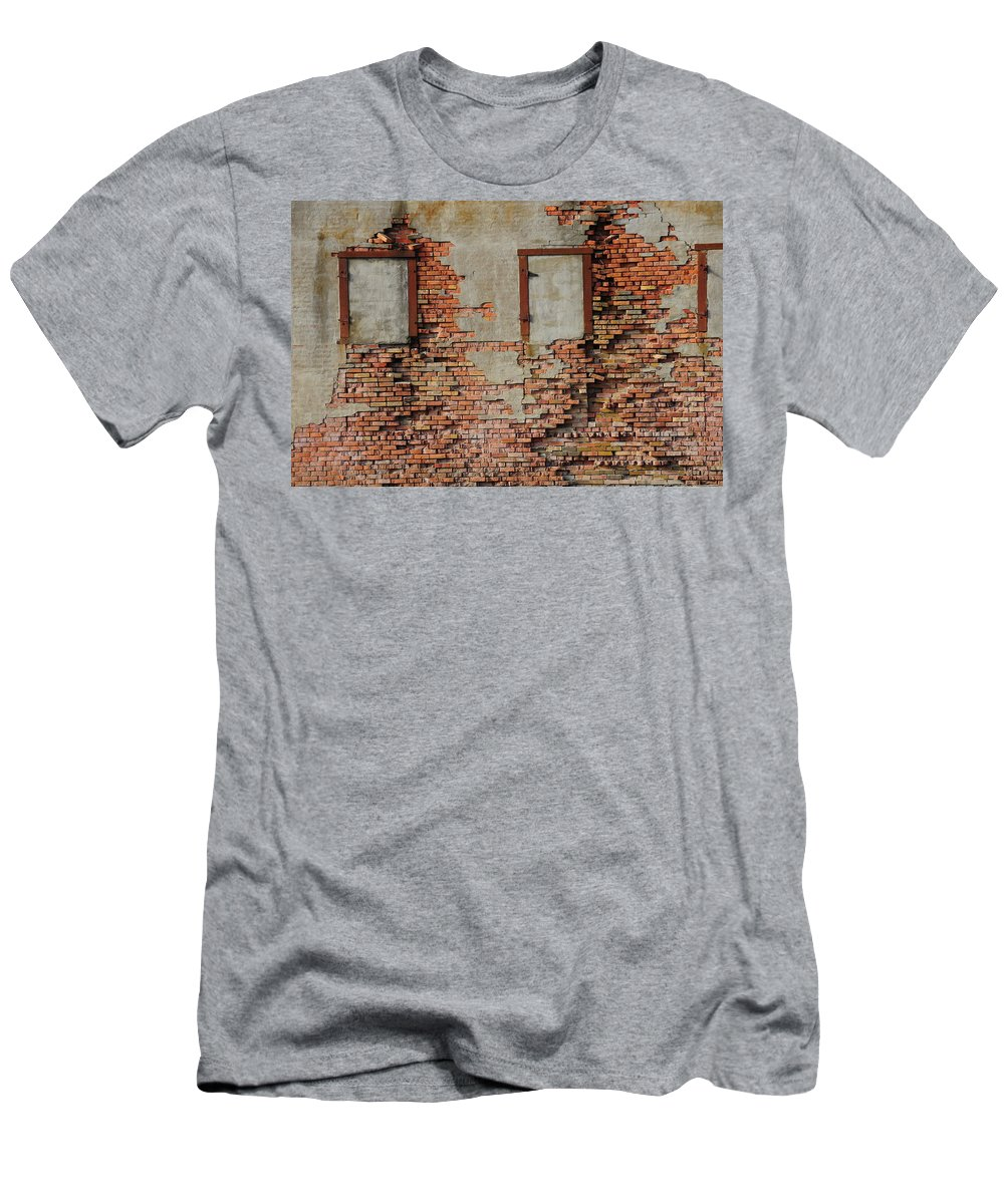 Bricked In Men's T-Shirt (Athletic Fit) featuring the photograph Windows That Do Not See by David Arment
