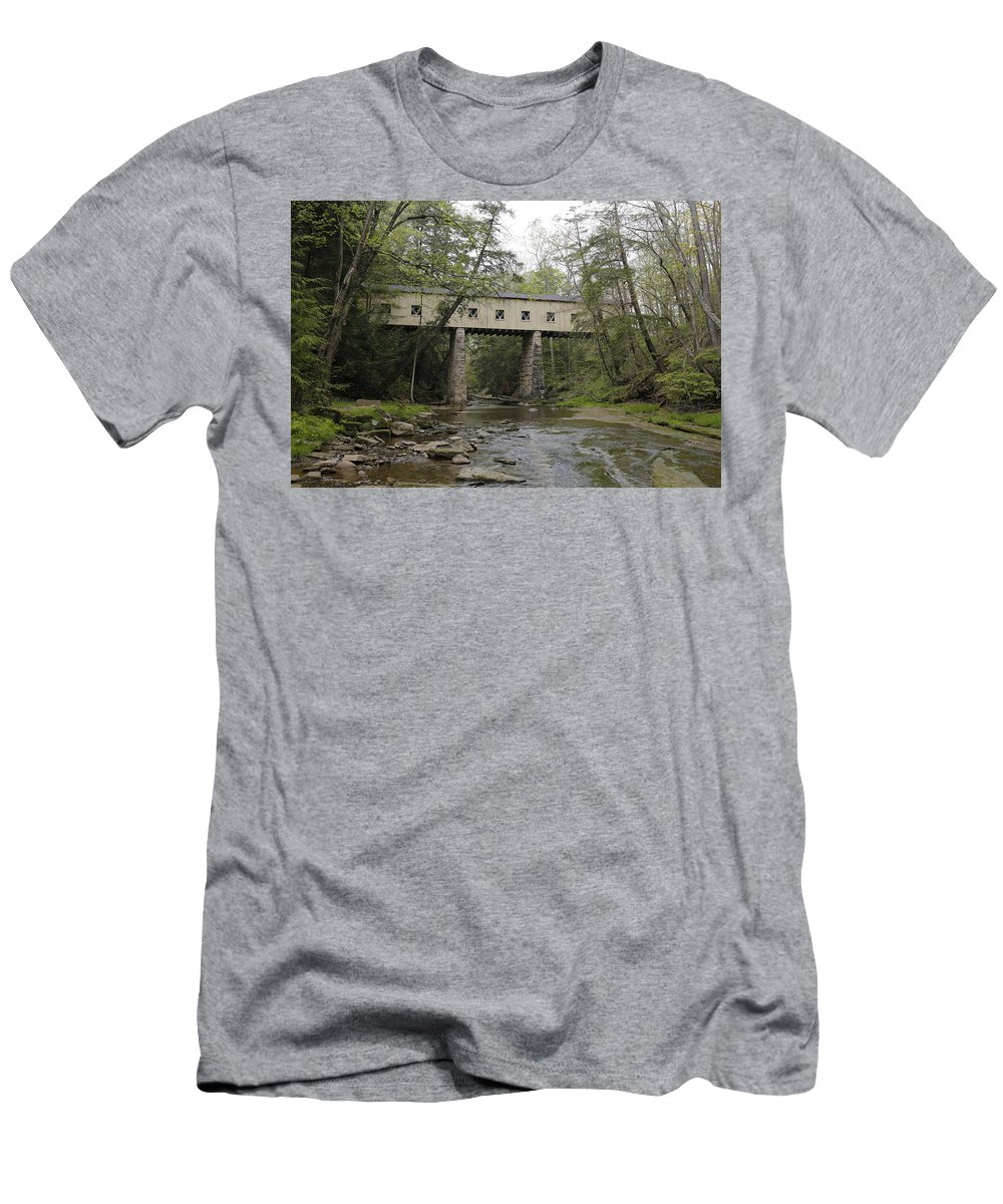 Digital Men's T-Shirt (Athletic Fit) featuring the photograph Windsor Mills Covered Bridge 3 by Jeff Roney