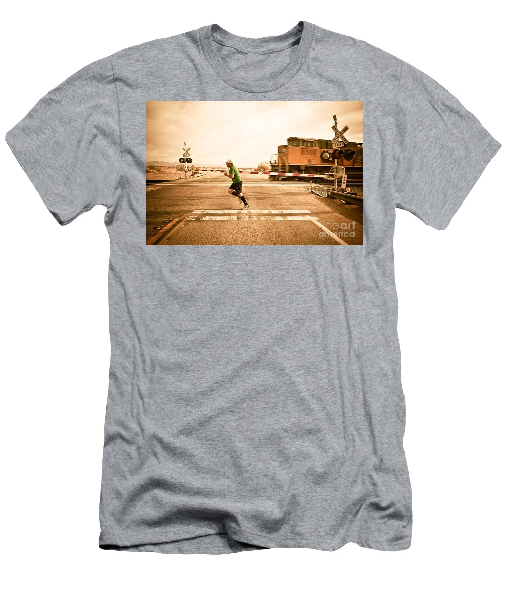 Train Men's T-Shirt (Athletic Fit) featuring the photograph Winning.... For Now by Scott Sawyer