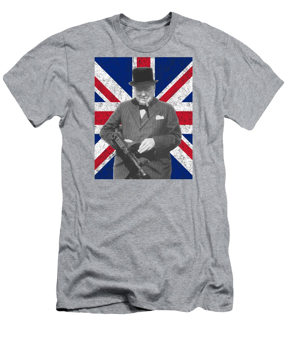 Winston Churchill Men's T-Shirt (Athletic Fit) featuring the painting Winston Churchill And Flag by War Is Hell Store