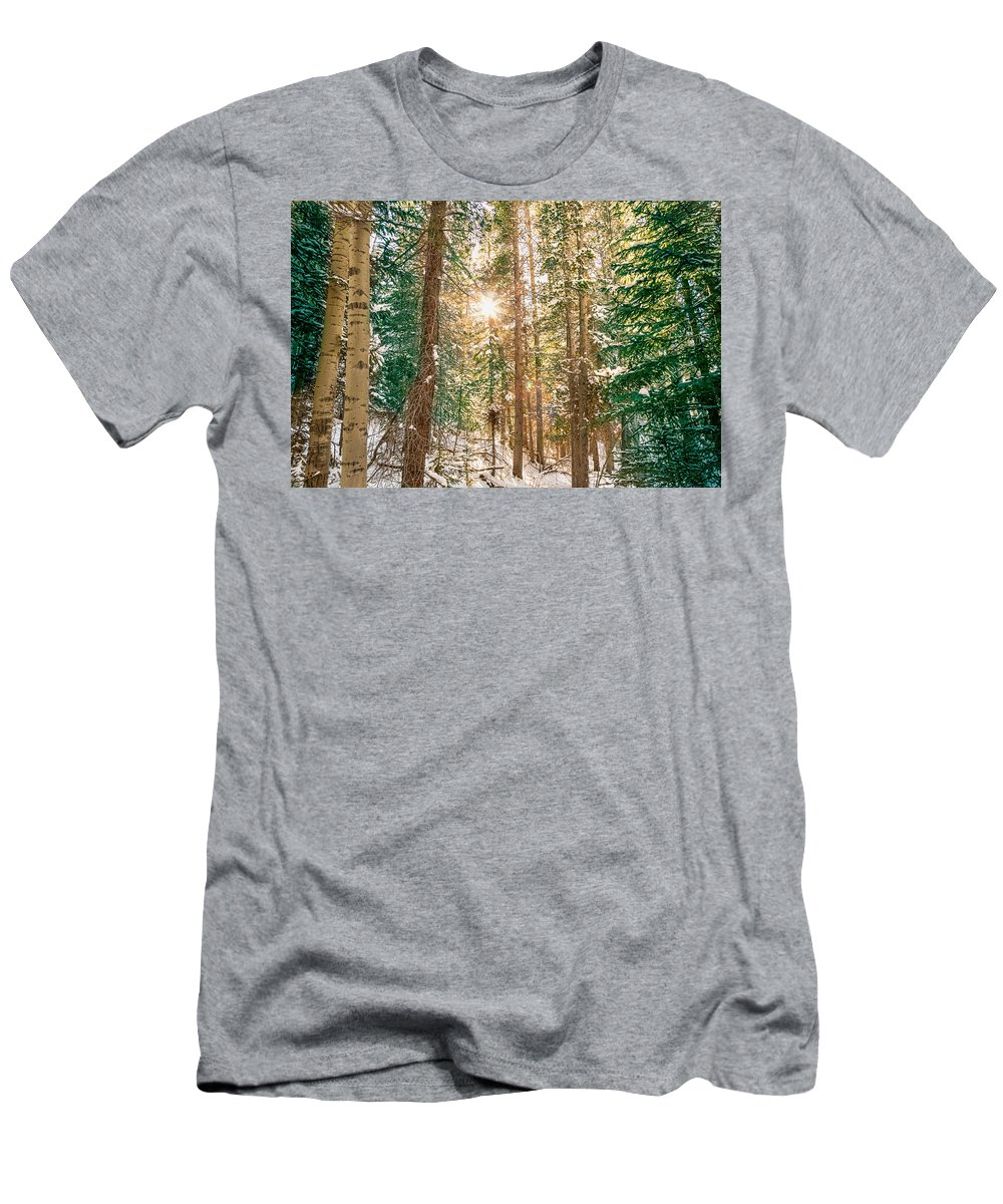 Winter Men's T-Shirt (Athletic Fit) featuring the photograph Winter Forest Sunshine by James BO Insogna