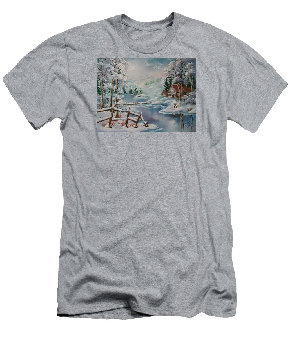 Winter Scapes T-Shirt featuring the painting Winter In The Valley by Irene Clarke