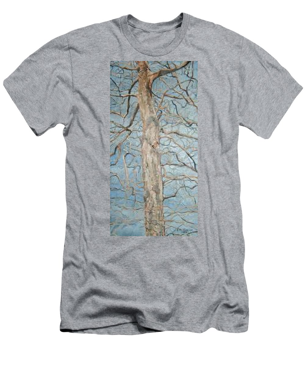 Tree Men's T-Shirt (Slim Fit) featuring the painting Winter Morning by Leah Tomaino
