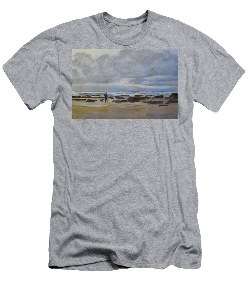 Beach Men's T-Shirt (Athletic Fit) featuring the painting Winter Morning Solitude II by Jenny Armitage