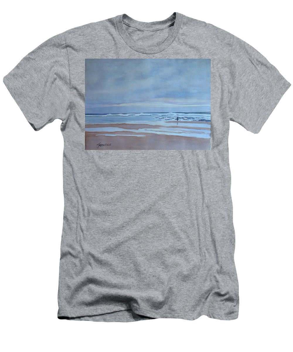 Ocean Men's T-Shirt (Athletic Fit) featuring the painting Winter Morning Solitude by Jenny Armitage