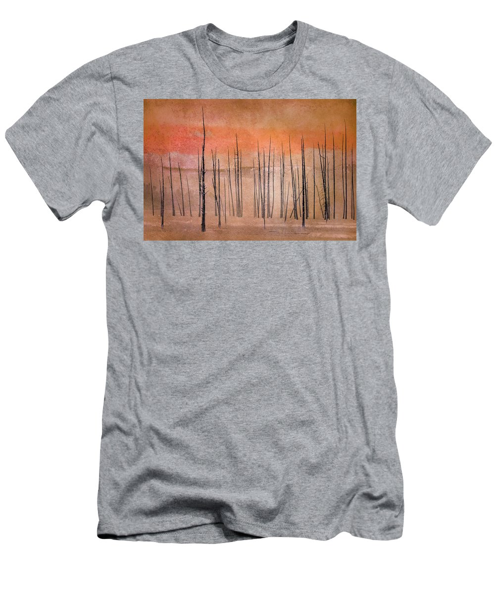 Yellowstone Men's T-Shirt (Athletic Fit) featuring the photograph Winter Orange 7913orange by Karen Celella