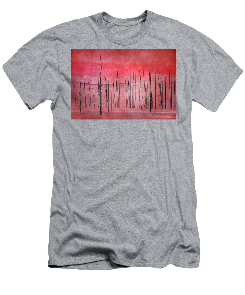 Yellowstone Men's T-Shirt (Athletic Fit) featuring the photograph Winter Red 7913red by Karen Celella