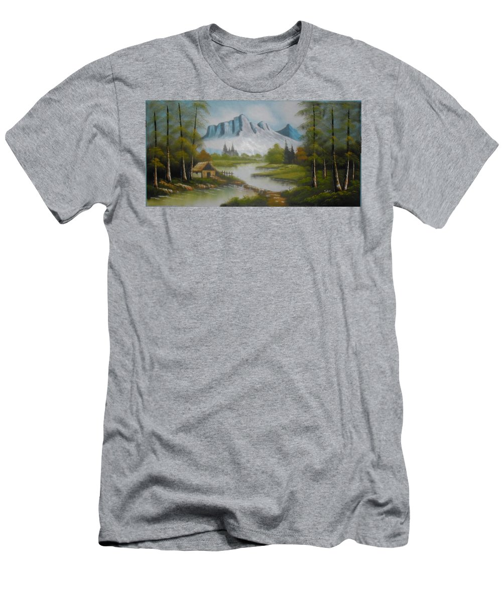 Cloudy Men's T-Shirt (Athletic Fit) featuring the painting Winter Season Cloudy Weather by Pisces Art Word