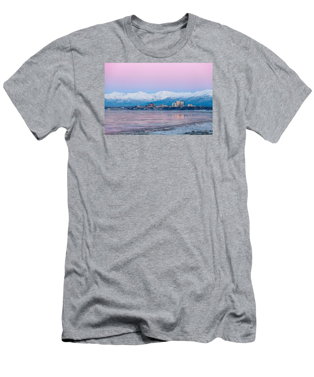 Alaska Men's T-Shirt (Athletic Fit) featuring the photograph Winter Sunset Over Anchorage, Alaska by Scott Slone