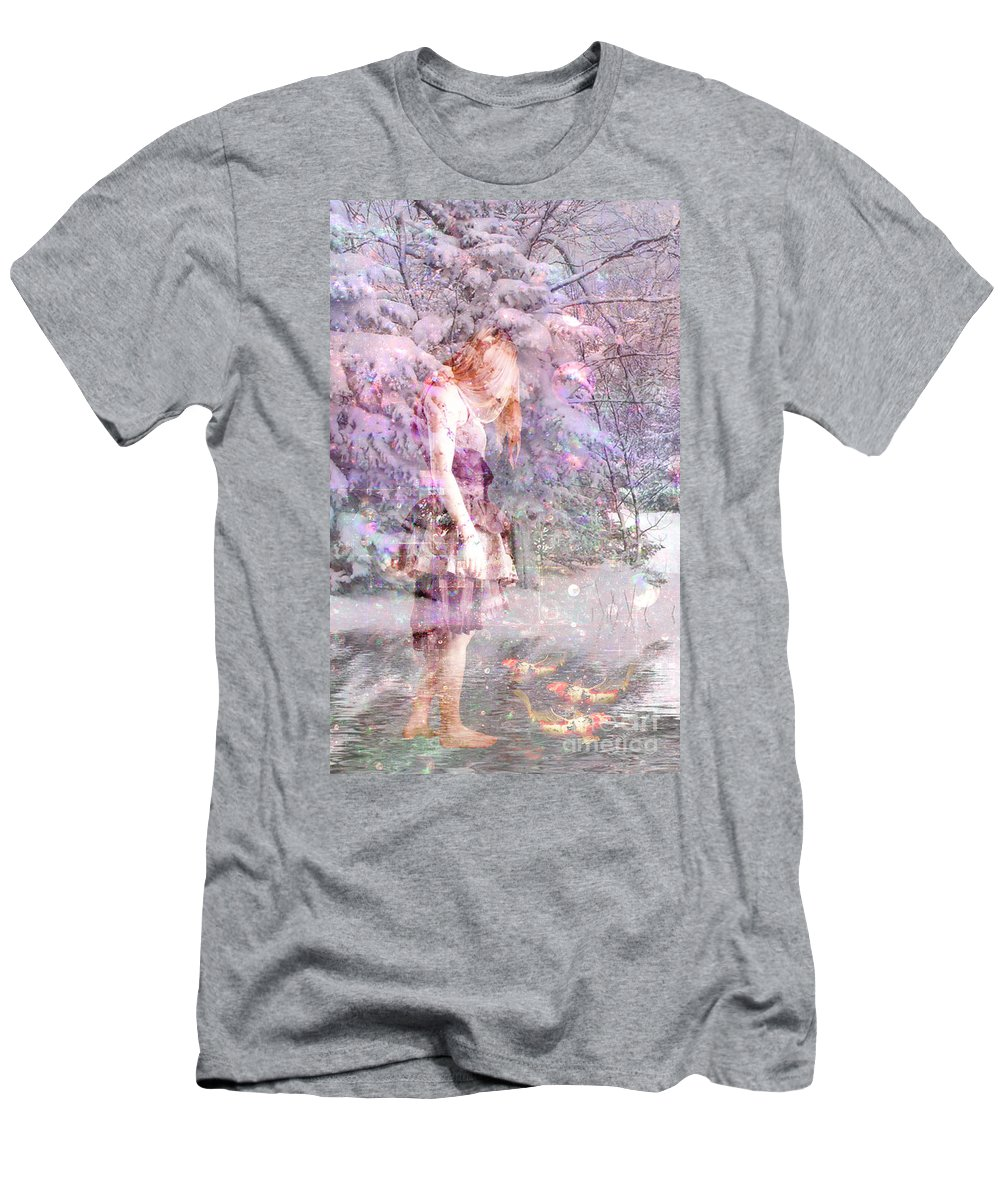 Winter Seasons Snow Forest Pond Koi Woman Fantasy Dreamy Abstract Realism Surreal Lavender Purple Men's T-Shirt (Athletic Fit) featuring the mixed media Winter Wonderland 2 by Tammera Malicki-Wong