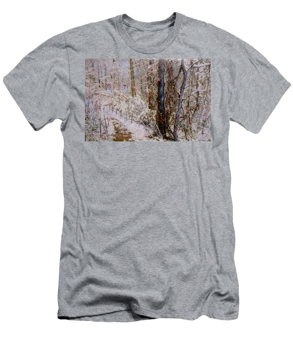 Snow; Trees Men's T-Shirt (Athletic Fit) featuring the painting Winter Wonderland by Ben Kiger